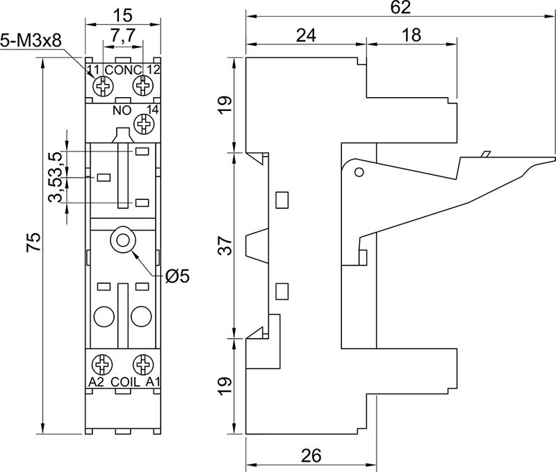 Колодки монтажные серий PYF-012BE/2