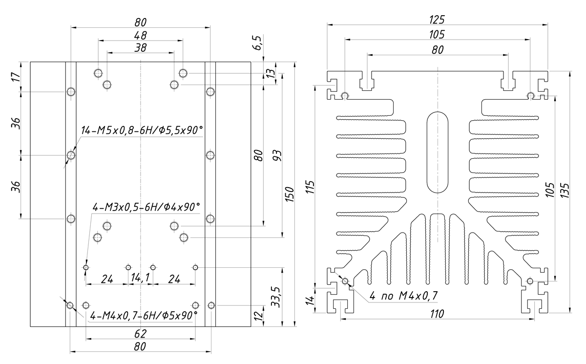чертеж радиатора KIPPRIBOR РТР038