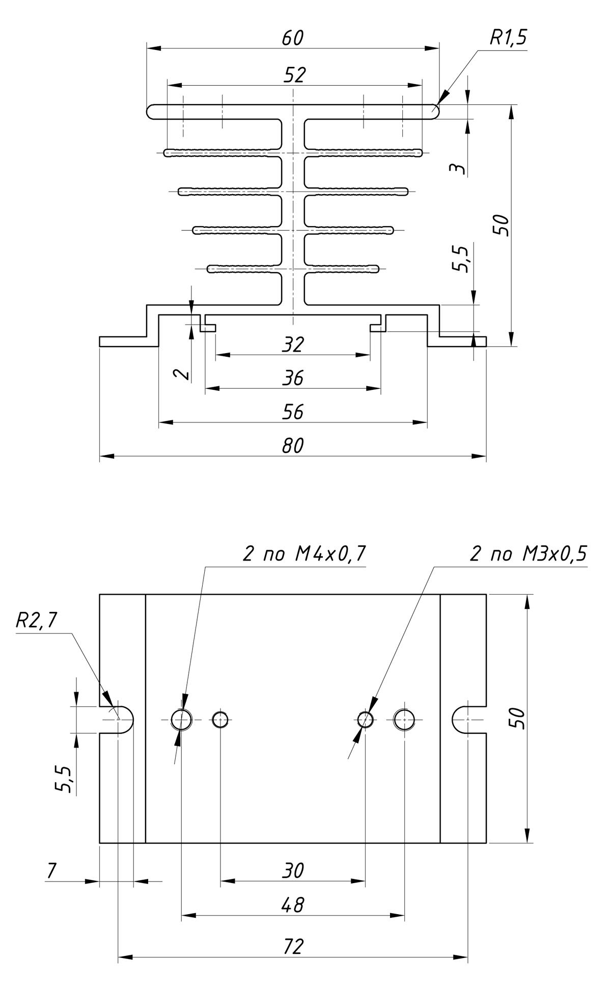 чертеж радиатора KIPPRIBOR РТР060