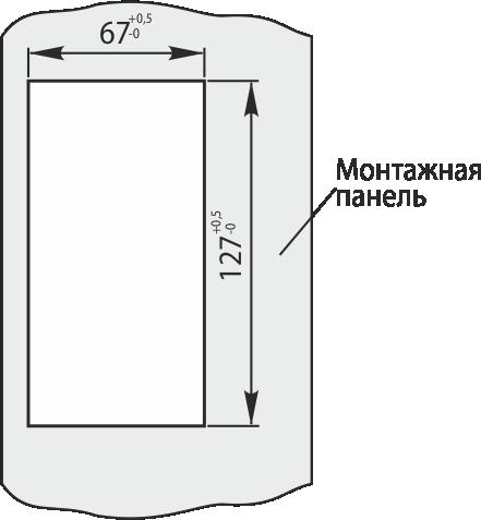 Размер выреза в монтажной панели* при выносном монтаже